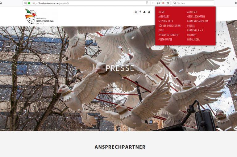 Screenshot der Webseite Festkomitee